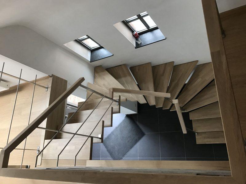 Escalier chêne et métal – Hérinnes